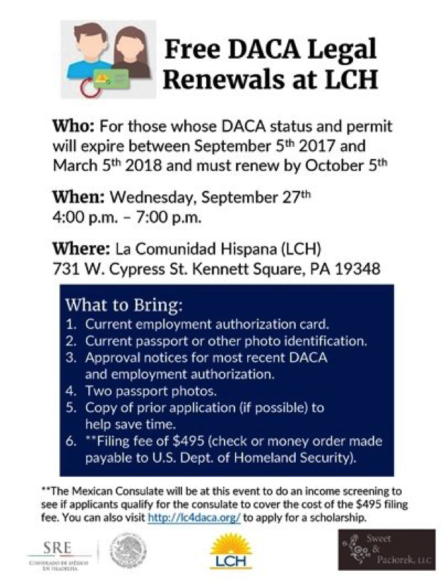 Free DACA Renewals at LCH | United Way of Southern Chester County